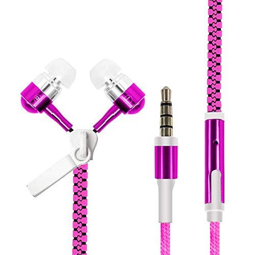 Kopfhörer leuchtende reißverschluss kopfhörer leucht headset sport ohrhörer musik kabelgebundene kopfhörer für iphone für samsung für xiaomi 3,5mm stecker (farbe: pink) (Pink-ohrhörer Wickeln)
