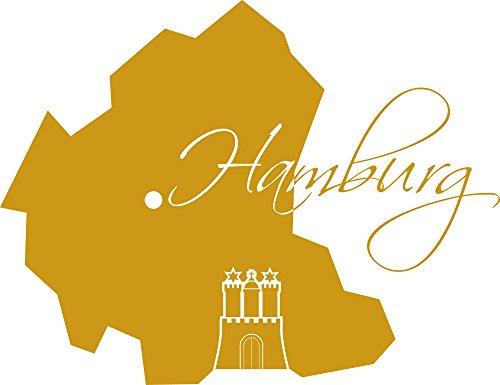 GRAZDesign 630376_57_820 Wandtattoo Sticker für Wohnzimmer Büro Hamburg Karte Umriss Wappen Burg Städte (74x57cm//820 Mustard)