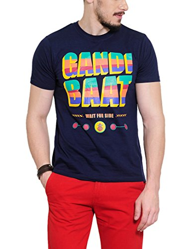 Yepme Men's Blue Graphic T-shirt -YPMTEES0251_S  available at amazon for Rs.179