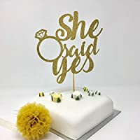 She said yes cake topper. Gold, silver, rose gold cake topper. Engagement party, hen party, diamond ring cake topper