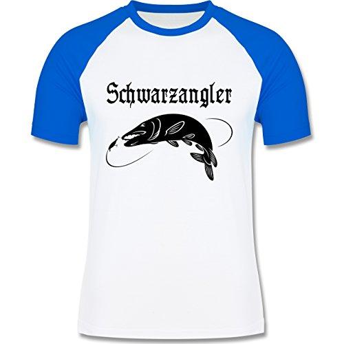 Angeln - Schwarzangler - zweifarbiges Baseballshirt für Männer Weiß/Royalblau