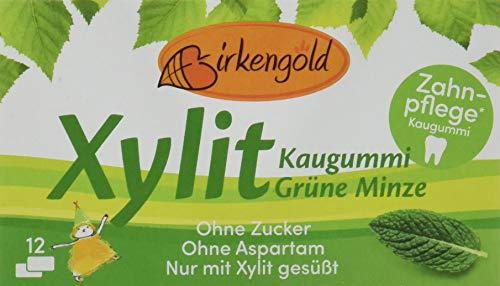 Birkengold Xylit Kaugummi Grüne Minze, 8er Pack | Zahnpflege-Kaugummi | zuckerfrei | 70 {a72ea96ed01cc1c65a3763834119006cfb01a92c2ec8ef9cdf99fa244a723309} Xylit | vegan | ohne Titandioxid