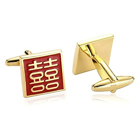 Epinki Men Stainless Steel Square Engraved with Chinese Character Gold Red Cufflinks
