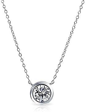 Bling Jewelry Bezel-Set Runde CZ Solitaire Anhänger Stelring Silber Halskette 16 Zoll