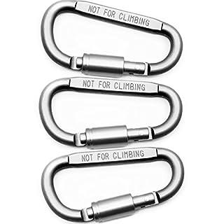 OUTDOOR SAXX® - 3 Stück Aluminium Schraub-Karabiner 8cm | mit Schraub-Sicherung Verschluss-Sicherung | 3er Spar Pack