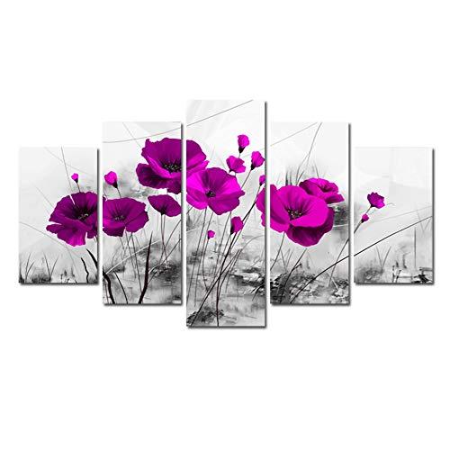 Gyratedream 5 Stücke Prägnante Wandmalereien Home Flower Theme Gemälde Wandkunst Für Hauptdekorationen Gemälde