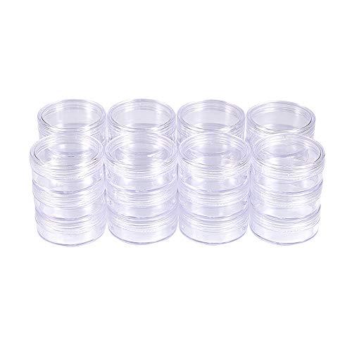 BENECREAT 24 Pack 1,97' x0,94(20ml) Contenitore Vuoto Contenitore di Plastica Trasparente per Perline con Coperchi a Vite Arrotondati per Perline, Nail Art, Glitter Cosmetici e Crema da Viaggio