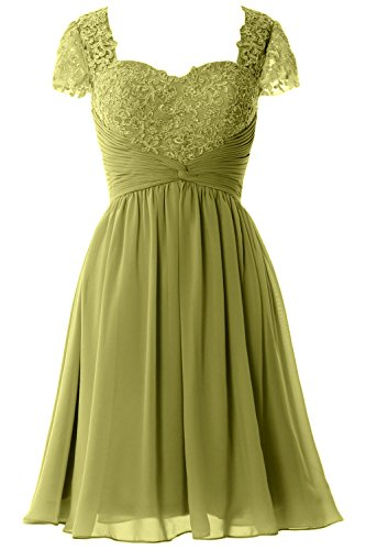 MACloth Women Cap Sleeve Cocktail Dress Short Lace Chiffon Mother of Bride Dress Olive Green
