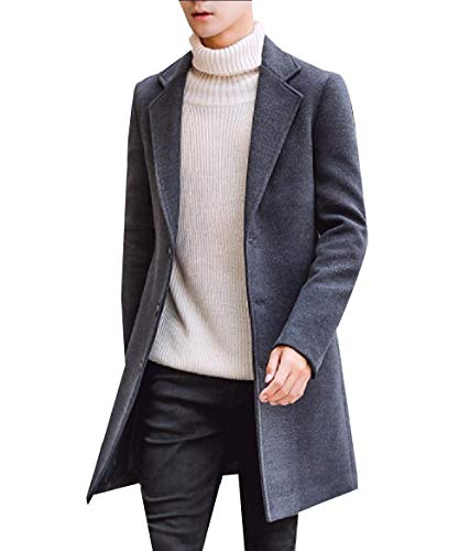 CuteRose Mens Notch Collar Single Breasted Wool Blended Autumn Peacoat Dark Grey M