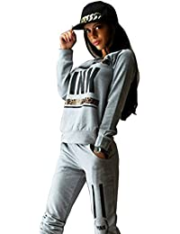 Baymate Mujer Escote Redondo Chándal 2pcs Conjuntos Casual Sudadera Sweatshirt Pantalones