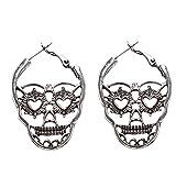 Flybloom Boucles d'oreilles en Forme De Tête De Mort avec Goujon pour Accessoires De Charme pour Femmes Filles, Couleur Argent