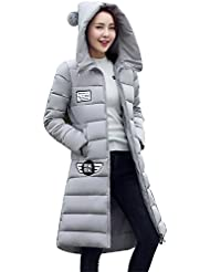 MODETREND Mujer Hoodie Chaquetas de Plumas Espesado Largo Abrigo con Capucha Encapuchado Acolchada Abajo Para Otoño Invierno Parka Gabardina