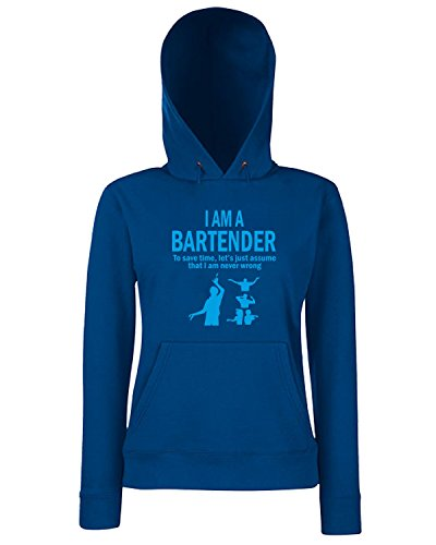 T-Shirtshock - Sweats a capuche Femme BEER0240 I m a bartender Bleu Navy