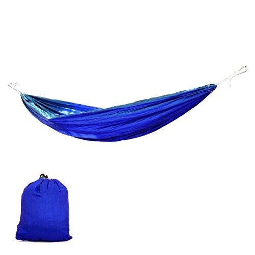 Hangematten Moskitonetz-hangendes Bett-Fallschirm-Stoff Outdoor Indoor Camping Reise 260 * 145cm Blau (Fallschirm Blau)