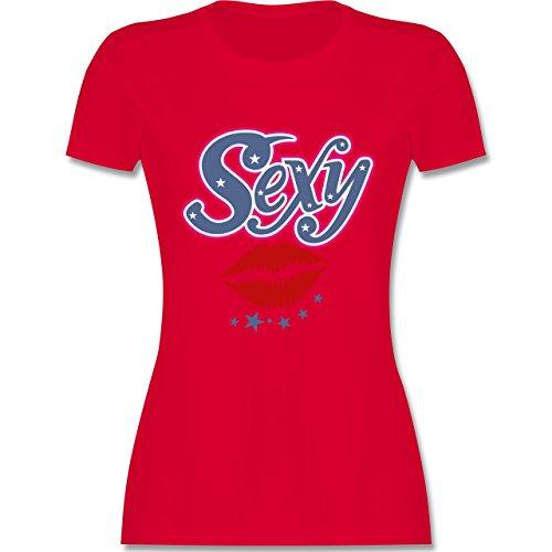 JGA Junggesellinnenabschied - Sexy Mund - tailliertes Premium T-Shirt mit  Rundhalsausschnitt für Damen Rot