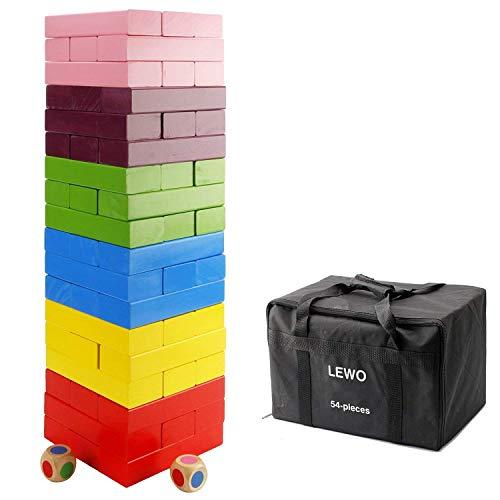 Lewo Hölzern Riese Stapelspiele Hartholz Blöcke Tumblerturm Spielzeug Bauen 54 Stück mit Aufbewahrungstasche