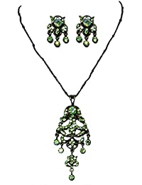 DollsofIndia Green Zirconia Stone Studded Necklace With Black Chain And Earrings - Stone And Metal (JR89-mod)...