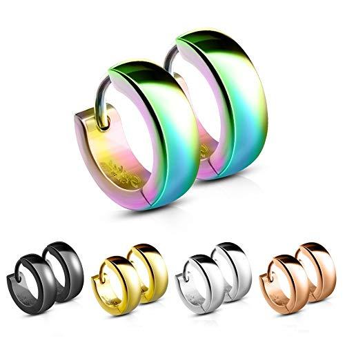 Treuheld® | Klassische, eckige Creolen/Ohrringe aus medizinischem Edelstahl | 4mm x 12mm | Bunt | Klappcreolen für Damen & Herren | Set Paar