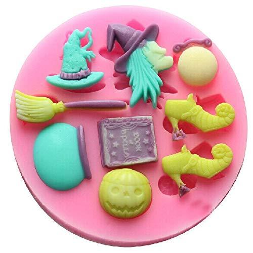 JER 1 STÜCKE Hexe & Schuhe Geformt Silikonform Kuchen Dekoration Fondant Kuchen 3D Mold Food Grade Silikonform Halloween Spielzeug(Gelegentliche Farbe)