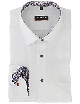 ETERNA Modern Fit Hemd Langarm New Kent Kragen mit Patch weiß