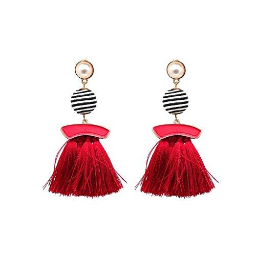 Floridivy 1 Paar Zebra-Streifen-Ball Drop Troddel-Ohrringe Frauen Ombre Fringe-hängende Korn-Ohr-Bolzen Zebra Fringe