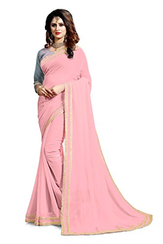 Saree Center Women\'s Georgette Saree With Blouse Piece Material (Pink)