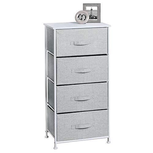 Schlafzimmer Büro Kommode (mDesign Textil-Kommode mit 4 Schubladen - universelles Aufbewahrungssystem für Schlafzimmer, Kleiderschrank, Büro etc. - besonders Leichter Stoffschrank in Juteoptik - grau)