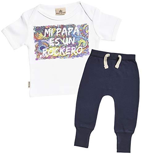 SR - Mi papá es un rockero Regalo para bebé - Blanco Camiseta...
