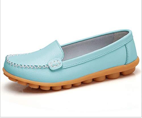 HOESCZS Frühling Und Sommer Lässig Mutter Schuhe In Den Alten Erbsen Einzelne Schuhe Kleine Weiße Schuhe Flach Mund Leder Flache Rutschfeste Krankenschwester Schuhe Größe, Moonlight, 39