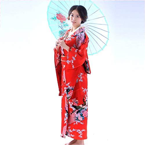 Dpolrs Frauen Mädchen japanische Satin Lange mit Blumen Kimono Yukata Foto Cosplay