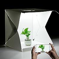 iLifeSmart Caja de Luz Regulable y Plegable para Estudio Fotográfico (40x 40x 40cm)con 2 TirasLED Ajustable y 4Colores de Fondo, para FotografíaBlanco