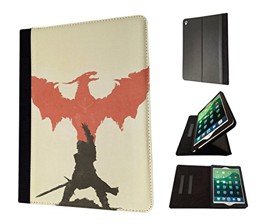 Preisvergleich Produktbild 002987 - Warrior Fighter Soldier Red Dragon Shadow Design Apple ipad Air 2 -2015-2016 TPU Leder Brieftasche Hülle Flip Cover Book Wallet Stand halter Case