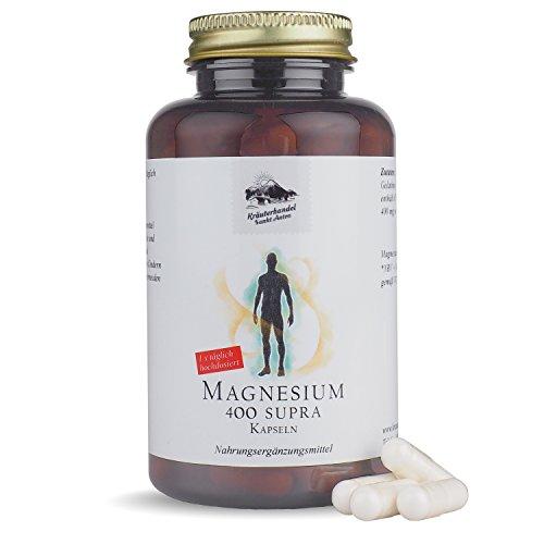 Magnesium 400 Supra • 120 Kapseln (4 Monatsvorrat) • 400 mg reines Magnesium pro Kapsel • aus Prinzip KEIN Magnesiumstearat • Made in Germany • Kräuterhandel Sankt Anton
