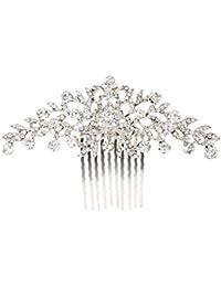Aofocy Boda nupcial flor Diamant0e Crystal Rhinestone mujeres peine del pelo tocado