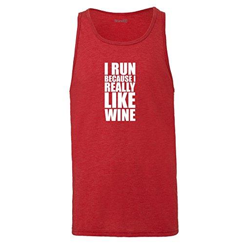 Brand88 - I Run Because I Really Like Wine, Unisex Jersey Weste Rot Meliert