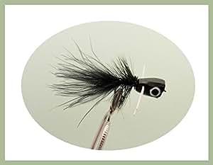 4 pezzi, colore: nero e Bass Popper-Esche per pesca alla trota, misura: 10