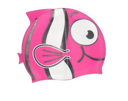 Colorfulworldstore Kinderbadekappe mit Zeichentrickfigur-Süße Silikonbadekappe in Fischform-Badekappe für Kinder (M, Violett)