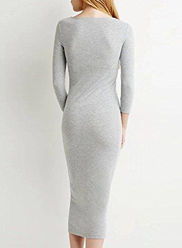 ACHICGIRL Women's Simple 3/4 Sleeve Bodycon Midi Dress Light Grey