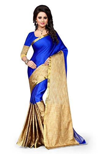 Shree Sanskruti Women's Tassar Silk Saree (Aura Blue_Blue and Beige)