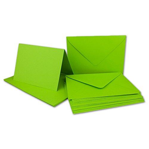 Faltkarten SET mit Umschlägen DIN A6 / C6 in Hellgrün | 25 Sets | Doppel-Karten & Briefumschläge aus Premium-Papier, 14,8 x 10,5 cm |formstabil | für Drucker geeignet | NEUSER®Qualitätsmarke: FarbenFroh®