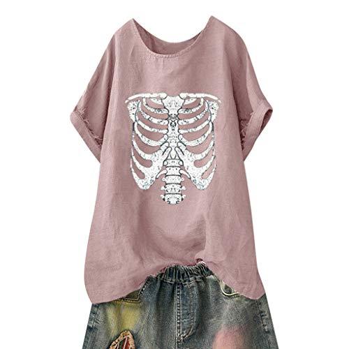 stige Muster Tees Beiläufige Feste Gedruckte Lose Flügelhülsen Gr.40-54 Übergroße T-Shirt Tops(3XL(50).Rosa-Skelett) ()