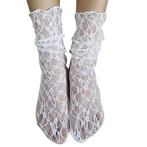 fish Reteo Mädchen Netzs Sommer-Spitze-Socken Solid Color Ankle Mesh-Slouch Lose Transparente Strümpfe - La La Schiere Strümpfe