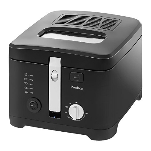 Bredeco BCEF 2.5E Deep Fryer Electric Fat Fryer (2,5 L, 1800 W, 230 V, 130–190 °C, Teflon Coated Aluminium, Basket 19x19x7 cm) Black