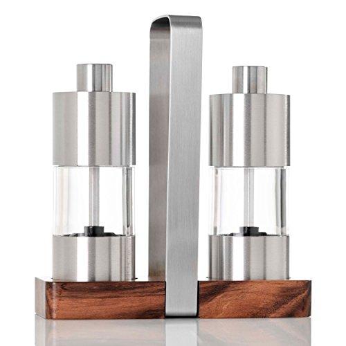 AdHoc Pfeffermühle und Salzmühle 13 cm Menage Classic ME01| 3 teiliges Set mit Menage aus Akazien und Edelstahl | 16x6x16
