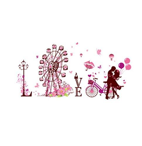 QTXINGMU Paar Dating Wandaufklebern Riesenrad Street Light Bike Wand Kunst Für Wohnzimmer Schlafzimmer Dekoration -