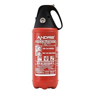 Auto Feuerlöscher 2kg ABC Pulver Löscher Schwarze Kappe sehr handlich mit KFZ Halter, ISO Symbolschild + ANDRIS® Prüfnachweis mit Jahresmarke