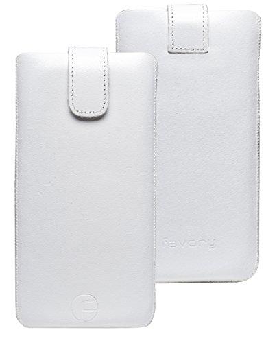 Favory Etui Tasche für / Motorola Moto G 4G LTE (2. Gen.) / Leder Handytasche Ledertasche Schutzhülle Case Hülle *Lasche mit Rückzugfunktion* in weiss