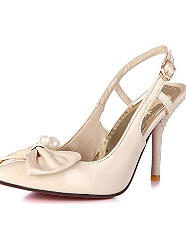 LFNLYX Faux Patent Leather Women's High Heel Pearl and Bowtie