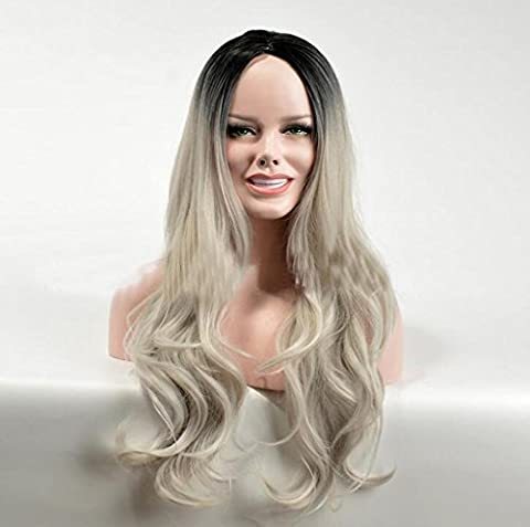 HJXJXJX Perruques Europe Et États-Unis Lady Noire Dyed Large Wave Long Curls Chemical Fiber High Temperature Wire Wig