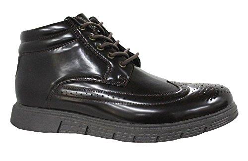 Scarpe francesine uomo marrone lucido casual eleganti sneakers stivaletti inglesine invernali (44)